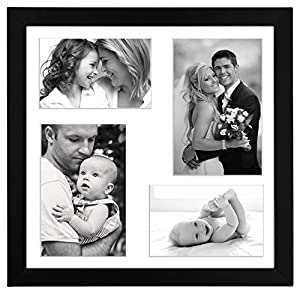 12x12 inch black collage picture frame made to display 4 photos two 4x6 inch pictures and two 5x7 pictures with mat