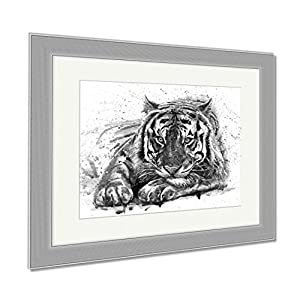 Ashley Framed Prints Tiger Animals Watercolor Wild Cat Illustration Graphic Wildlife, Wall Art Home Decoration, Black/White, 34x40 (frame size), Silver Frame, AG6580987
