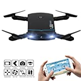 WARMSHOP Remote Control Foldable Mini Quadcopter Toy With 720P HD Camera High Speed Wifi FPV Drone Helicopter Gift (Black)