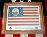 Framed, 38 star, Grover Cleveland Campaign Flag of 1888