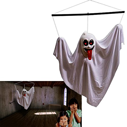 [Hanging Ghost | Halloween Animated Shaking Ghost | Hanging Ghost Decoration | White  Shaking Ghost  with Sounds and Flashing Eyes | Dazzling Toys] (Cheap Halloween Animatronics)