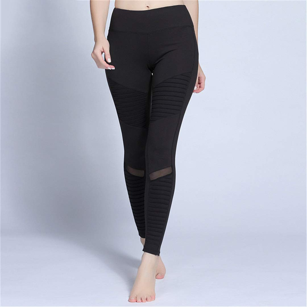 Amazon.com: Women White Yoga Pants Pleated Mesh Compression ...