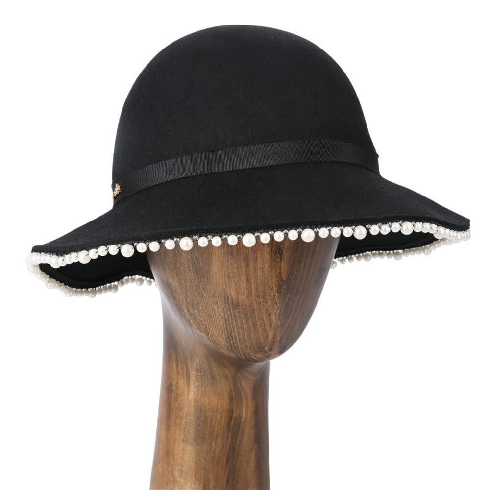 Lady di campana bombetta di vetro Fedora Cappello da buc Cappelli a  bombetta campana per cappelli floscio invernali con fiocco in feltro di lana  larga per ... 6cb47a6dff93