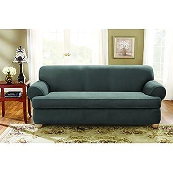 Amazon Com Sure Fit Stretch Suede Sofa 2 Piece T Cushion
