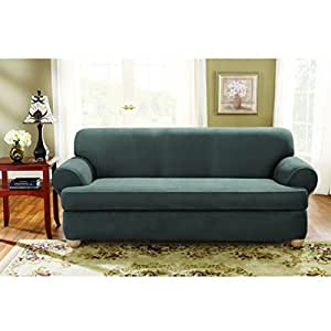 sure fit stretch suede sofa 2 piece t cushion slipcover home kitchen. Black Bedroom Furniture Sets. Home Design Ideas