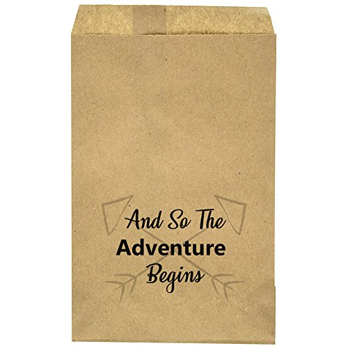 """Baby Shower - Bridal Shower - Wedding Favor Bags - Party Favor Bag - And So The Adventure Begins - Candy Bar – Treat Table – Candy Buffet - 6.25"""" x 9.25"""" Brown Kraft Bags – (20 pack)]()"""
