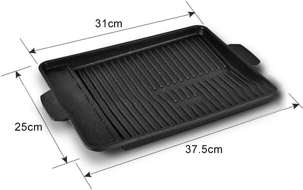 WanBeauty Pan Cookware BBQ Plate Household Rectangle Metal Anti-Stick Barbecue Frying Grill Gets Better with Each Use Noir Noir