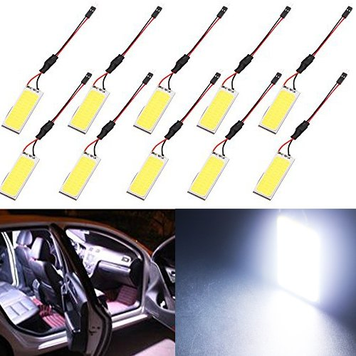 GrandviewTM Super White Energy-saving COB 36-SMD LED Panel Dome Light Auto Car Interior Reading Plate Light Roof Ceiling Interior Wired Lamp With T10 / BA9S / Festoon Adapters-10PCS