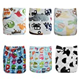 Alva Baby 6pcs Pack Fitted Pocket Cloth Diaper with 2 Inserts Each (Boy Color)6DM03