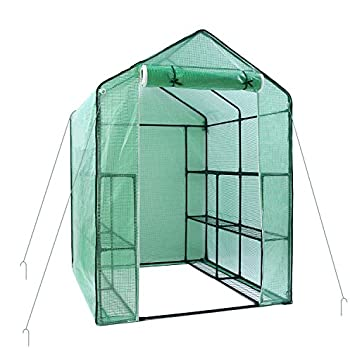 """Greenhouse for Outdoors, Ohuhu Large Walk-in Plant Greenhouse, 3 Tiers 12 Shelves Stands Green House for Herb and Flower, 55.5"""" (L) x 56.3""""(W) x 76.8""""(H)"""
