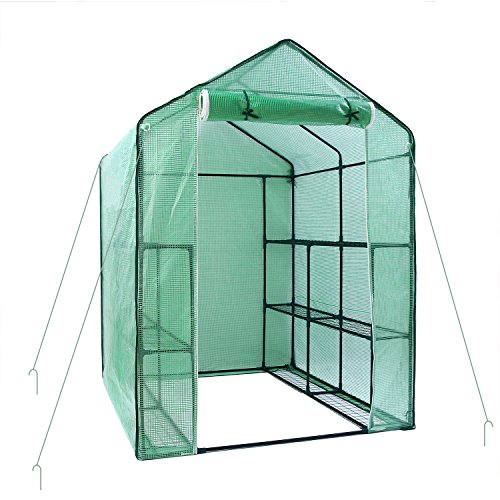 Ohuhu Greenhouse for Outdoors, Large Walk-in Plant Greenhouse, 3 Tiers 12 Shelves Stands Green House for Herb and Flower, 4.9 x 4.7 x 6.4 ()