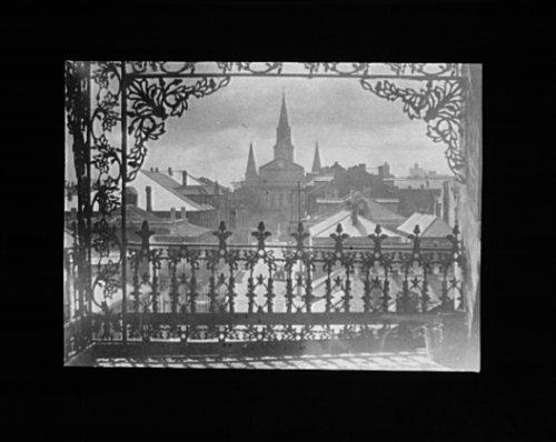 1920 Photo vista through iron lace, New Orleans vintage black & white photo 67 A