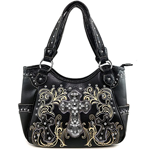 Justin West Cowgirl Western Rhinestone Cross Floral Embroidery Studded Concealed Carry Handbag Purse Trifold Crossbody Messenger Bag Wallet (Black Tote Purse)