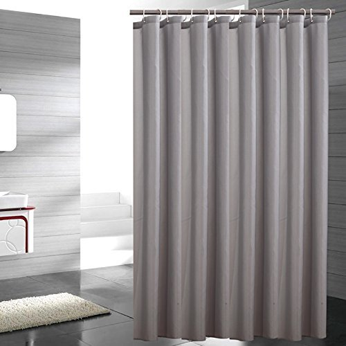 Lonniyl Heavy Weight Fabric Shower Curtain - Water Repellent, Mildew Resistant, Light gray (36 Inch Width x 78 Inch Long)