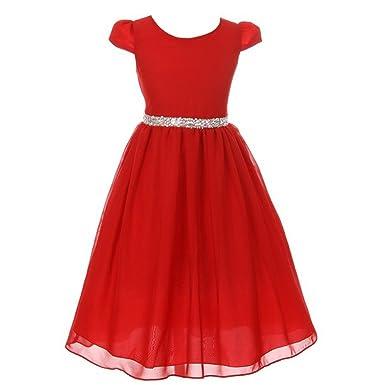 kiki kids big girls red chiffon rhinestone waist christmas dress 8 - Girls Red Christmas Dress