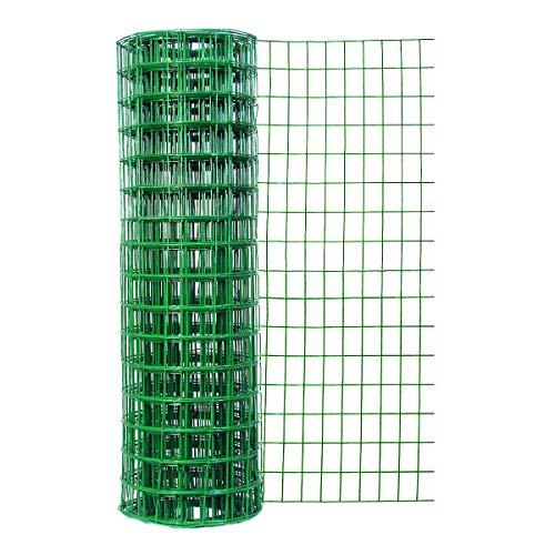 (Garden Zone 24 Inches x 50 Feet 16-Gauge Green Vinyl Coated Garden Fence with 3 x 2-Inch Openings )