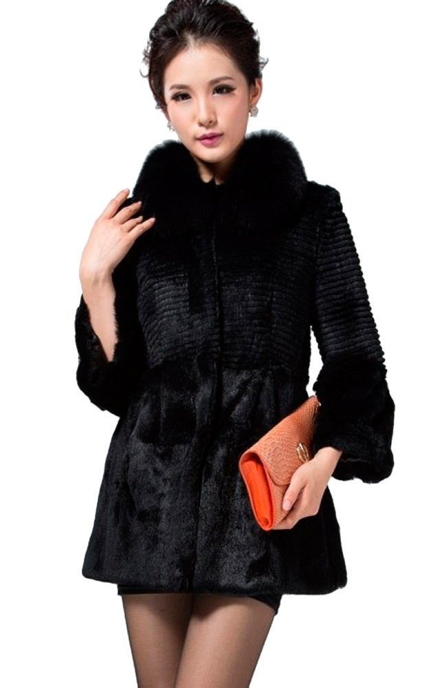 Queenshiny Long Women's 100% Real Rex Rabbit Fur Coat Jacket with Fox Collar-Black-M(8-10) by Queenshiny