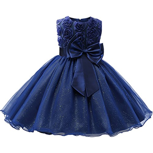 (Niyage Girls Party Dress Princess Flowers Glitter Wedding Dresses Toddler Baby Pageant Tulle Tutus 18-24 M Dark Blue)