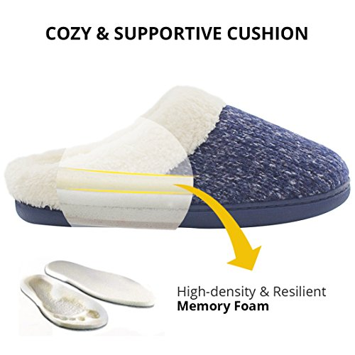 Womens Cozy Woolen Yarn Knitted Slippers Memory Foam Plush Lining Slip-on House Shoes w/ Anti-Slip Sole, Indoor/Outdoor Navy Blue