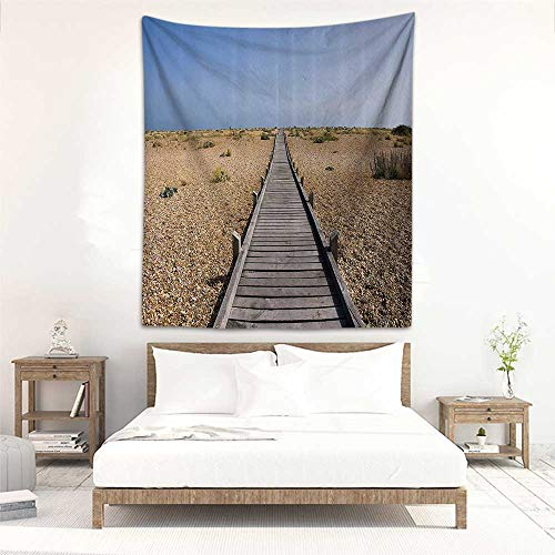 Wall tapestry for bedroom Seaside Decor Collection Raised Wood Boardwalk across a Pebble Coastline Stone Endless Road Nature Theme Home Decorations for Bedroom Dorm Decor 70