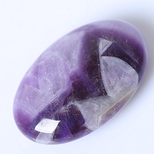 Yuanxi Oval Worry Stones,Palm Pocket Energy Stone,Healing Crystal with Velvet Bag,Healing Gemstone Worry Therapy Smooth Soap Shape (Purple Amethyst)