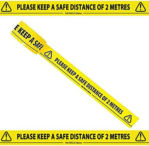 MINGTIAN Safety Tape 2m Metre Aparts Social Safe Distancing Floor Tapes 33m x 48mm