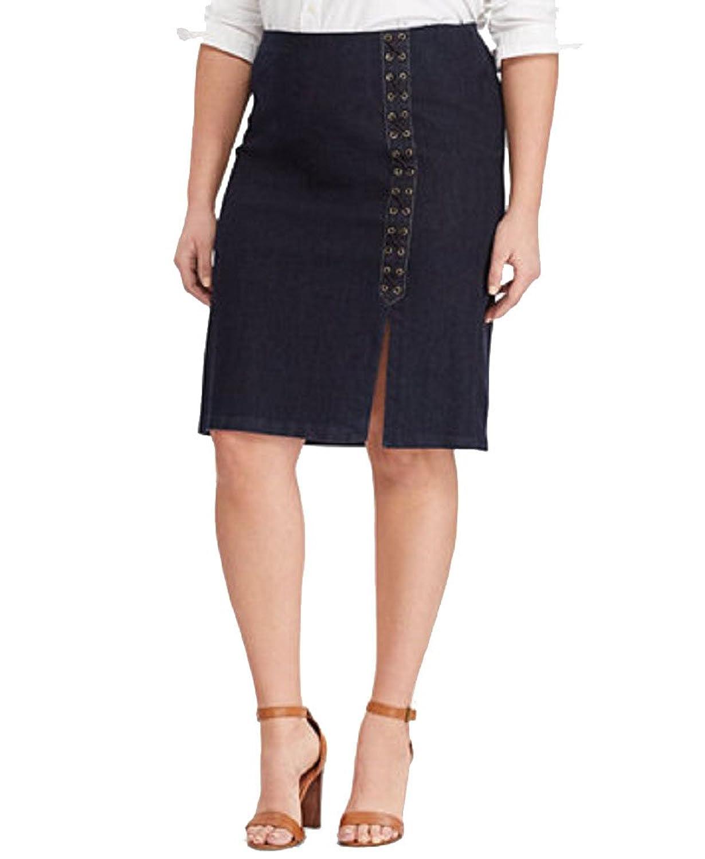 c3eabcab54d25 Lauren Ralph Lauren Plus Size Lace-Up Denim Pencil Skirt ...