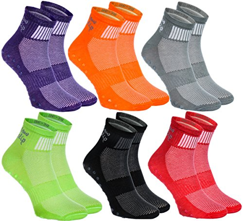 2,4 6 pairs of Colorful Non-slip Socks ABS Gymnastics Trampolines all sizes