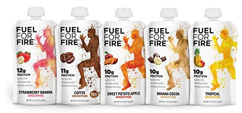 Fuel For Fire – Fruit & Protein Smoothie Squeeze Pouch 4.5 oz – Perfect for Workouts, Kids, Snacking – Gluten-Free, Soy-Free, Kosher, No Added Sugar (Variety Pack, 10-Pack) For Sale