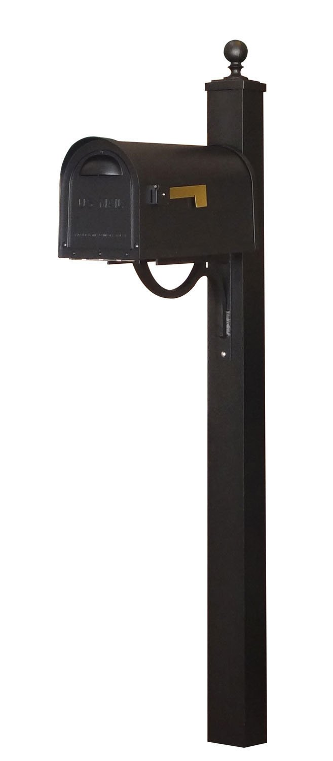 Special Lite Classic Curbside Mailbox with Springfield Mailbox Post - Black