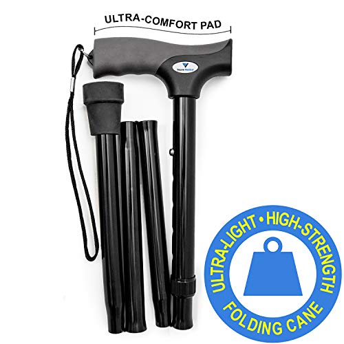 Vaunn Medical Easy Grip Height Adjustable Folding Cane/Walking Stick with Strap- Compact, Portable, Safe & Durable Walking Assistant- Non-Slip Grip Handle- Men, Women, Elderly, Disabled, Pregnant