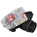 DSLR / SLR Camera Neck Shoulder Belt Strap - Wolven Cotton Canvas DSLR/SLR Camera Neck Shoulder Belt Strap for Nikon Canon Samsung Pentax Sony Olympus or Other Cameras - Grey Floral