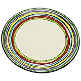 Thompson & Elm M. Bagwell Colors Collection Ceramic Salad Plates, Set of 4, 8.5-Inches in Diameter, Multicolor Stripes