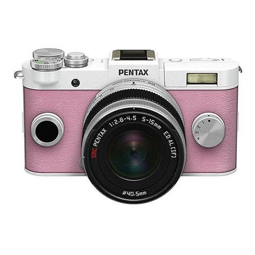 Pentax Q-S1 Mirrorless Digital Camera with 5-15mm Zoom Lens, Shake Reduction, 3-inch LCD Monitor, 5 FPS, Full 1080p h.264 HD video - Pure White / Pale Pink