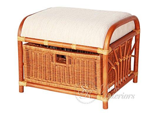 Handmade Ottoman Footstool Natural Rattan Wicker w/Basket w/Cushion, (Rattan Vanity Bench)