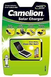 Camelion SBC-3001 - Cargador solar para móvil (AA, AAA, USB, 5 V), blanco y negro
