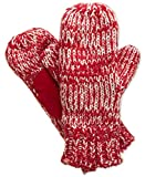 Isotoner Knit Mitten with Sherpasoft Lining and Suede Boomerang Palm (One Size, Red)