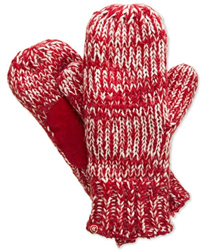 Isotoner Knit Mitten with Sherpasoft Lining and Suede Boomerang Palm (One Size, Red) by ISOTONER