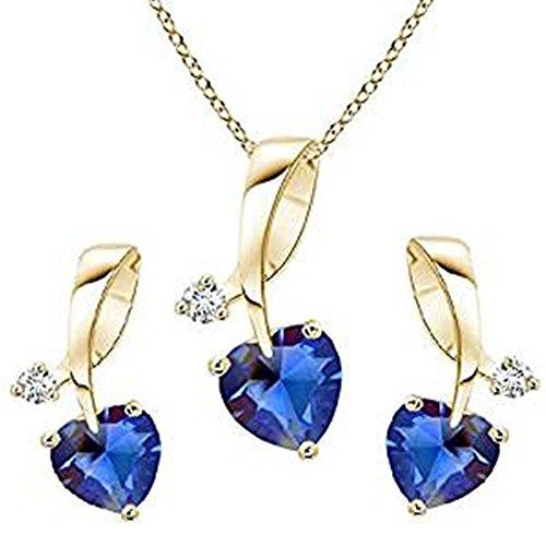 Lilu joyas Beautiful 14K chapado en oro plata de ley 925forma de corazón azul zafiro Gils Juego de colgante y pendientes con 45cm cadena