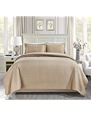 Chezmoi Collection 3pcs Solid Gray Modern Quilted Coverlet Set