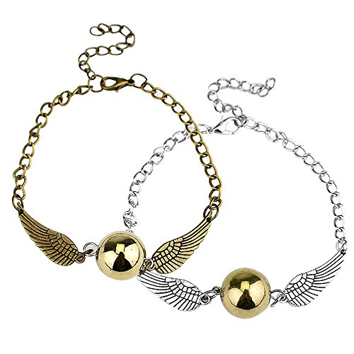 Megrez Golden Snitch Angel Wings Golden Bronze Pearl Bracelet 2Pcs