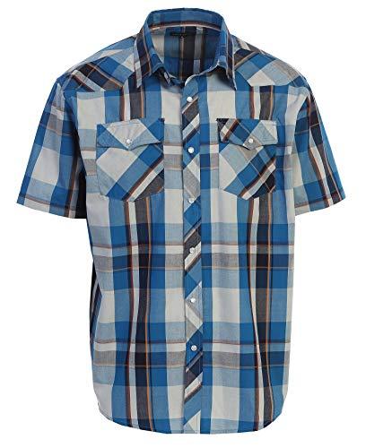 Gioberti Men's Plaid Western Shirt, Turquoise/Orange, Large
