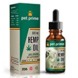 Pet.prime Hemp Oil for Dogs Cats & Pets - 500 mg - Relieves Pain, Separation Anxiety, Stress & Inflamation - 100% Organic - Calming Treats - Rescue Remedy - Food Supplement - Omega 3, 6, 9 Fatty Acids