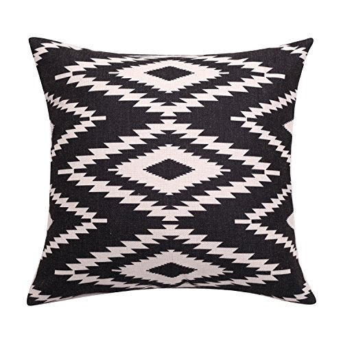 BreezyLife Aztec Throw Pillow Cover Geometric Decorative Pillow Case Square Linen Accent Cushion Cover for Sofa Couch Farmhouse Outdoor Housewarming Gift 18X18 Inches