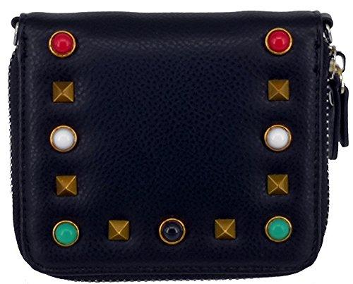 ABC STORY Girls Cute Small Black Zipper Coins Card Key Holder Wallet Purse For Women -
