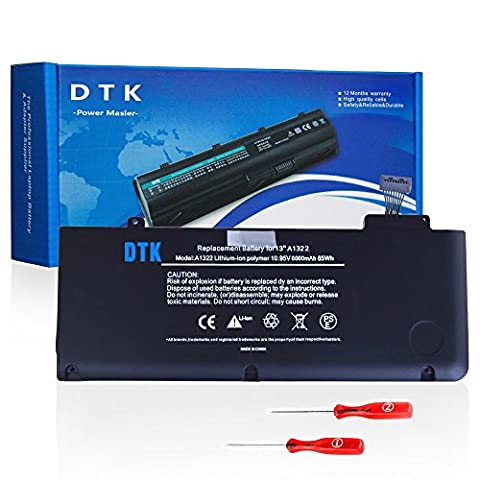 Dtk New Laptop Battery for Apple A1322 A1278 (2009 2010 2011 Version) Unibody Macbook Pro 13'', Fits Mb990/a Mb990ll/a Mb990j/a+two Free (2009 Macbook Battery Unibody)