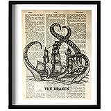 Dictionary Art print - The Kraken Octopus