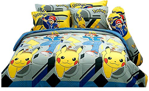 Tamegems Bedding Pokkemon Official Licensed Pikachu and Satoshi Yellow Gray Bed Sheet Set, 1 Fitted Sheet, 2 Pillow Case, 2 Bolster Case (not Included Comforter) 014 Set B (Queen(60