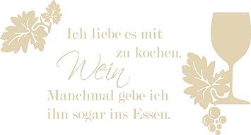 GRAZDesign Wandtattoo Küche lustig Sprüche - Wandtattoo sprüche Küche  Spruch über Wein - Tattoo Küche Weinglas - Wandtattoo Küche Lustiger Spruch  / ...