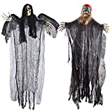 PeeNoke Halloween Hanging Decorations, Flying Grim Reaper and Skeleton Pirate with LED Flashing Eyes (2 Sets)